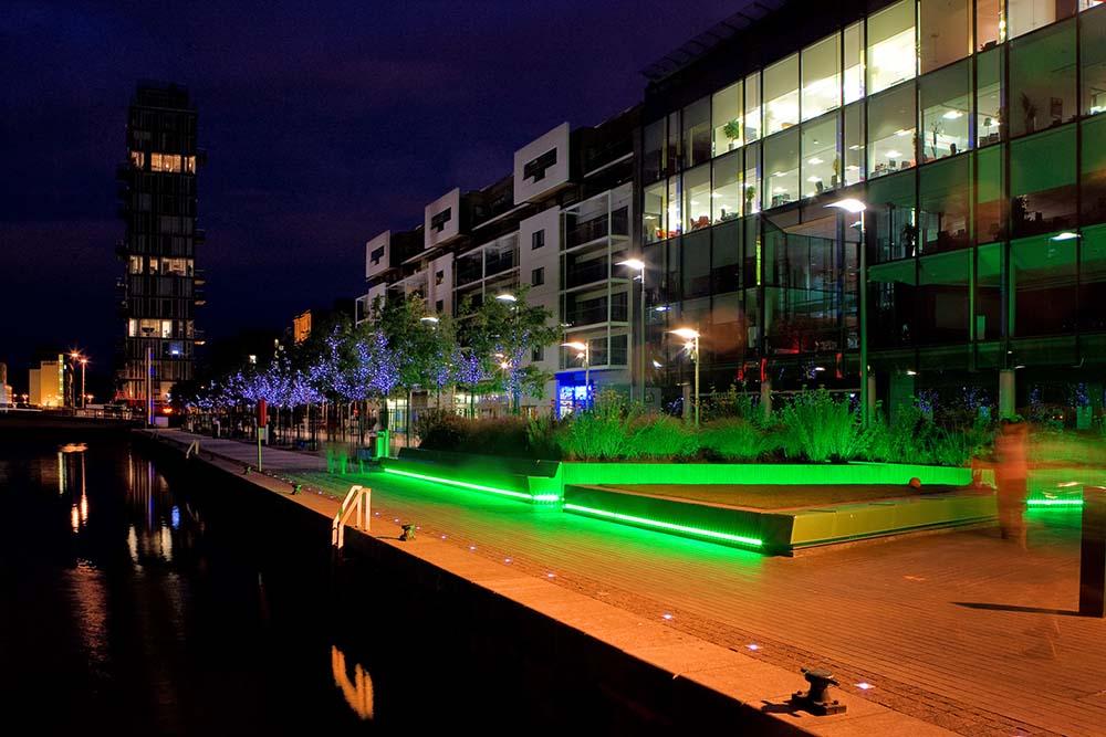 The Docks in Dublin Ireland at Night